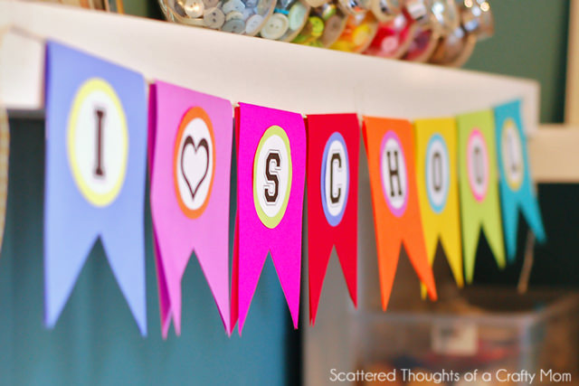 Printable i love school back-to-school banner