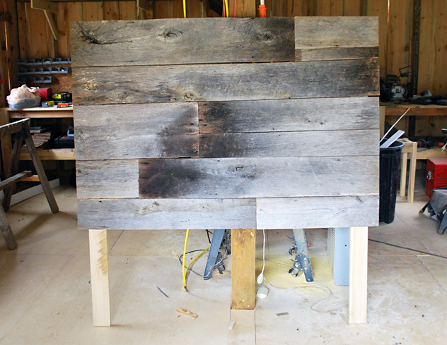 DIY barn wood headboard