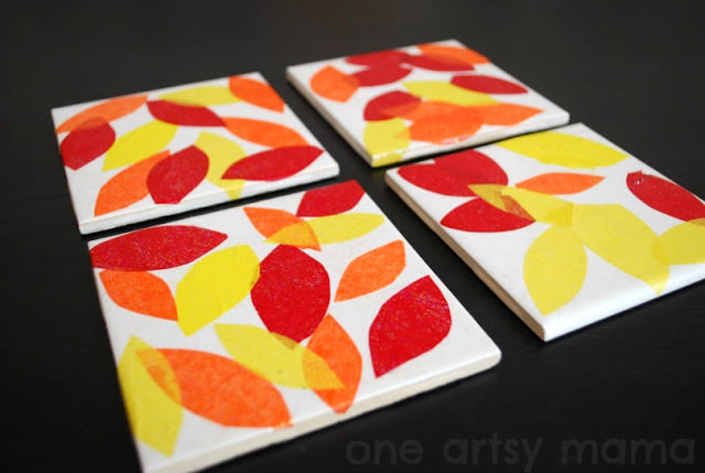 Fall Crafts for Kids - handmade coasters