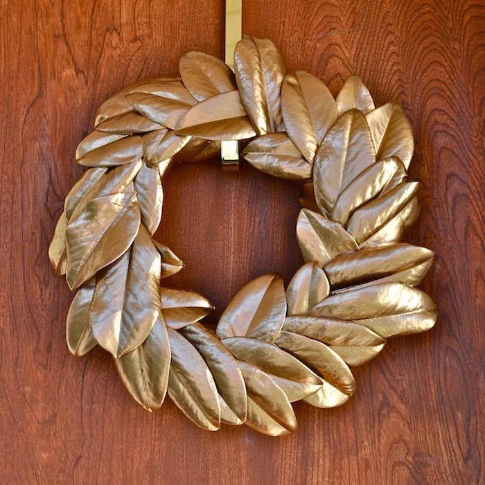 Fall wreath ideas - gold magnolia wreath