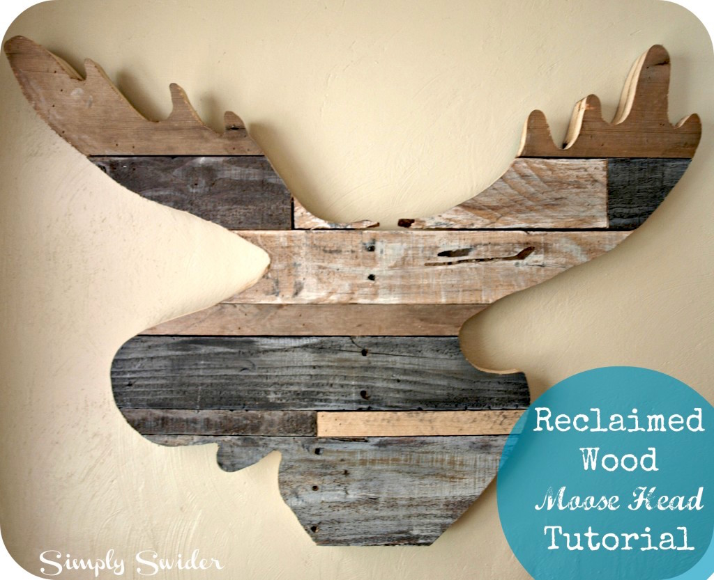 DIY moose head out of reclaimed wood