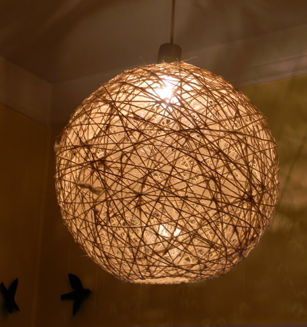 Twine light fixture made with Mod Podge