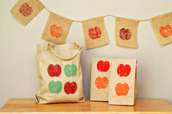 fall apple stamp bag