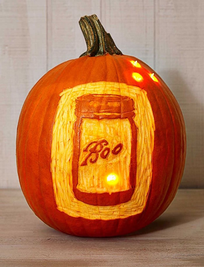 Boo mason jar pumpkin carving