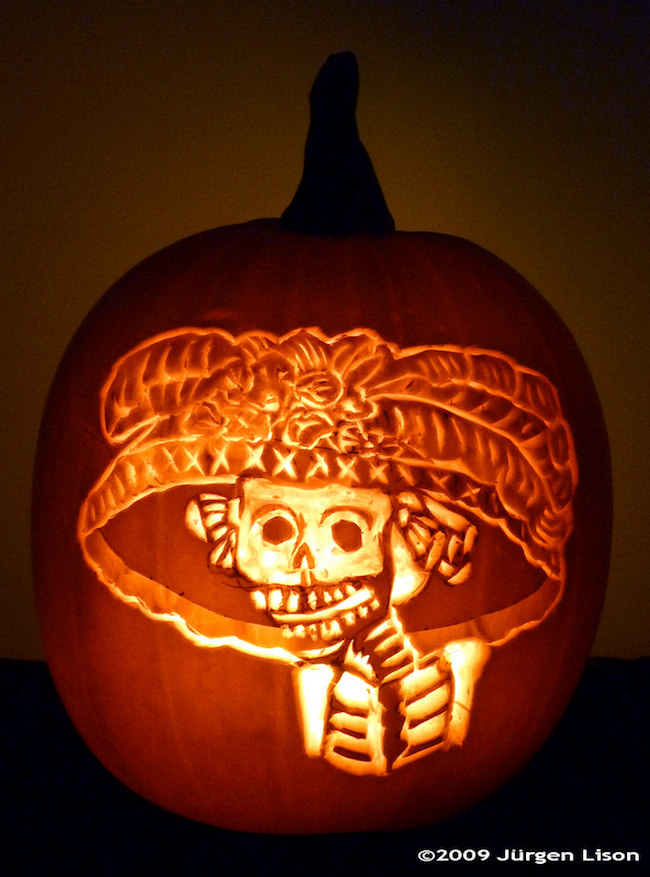 Dia de los muertos cool pumpkin carving ideas