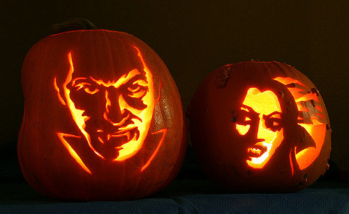 Dracula and vampira pumpkin carvings