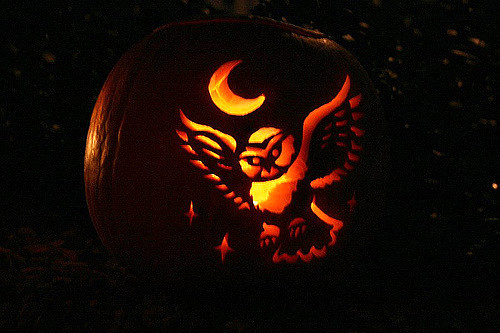 Owl and moon pumpkin carving