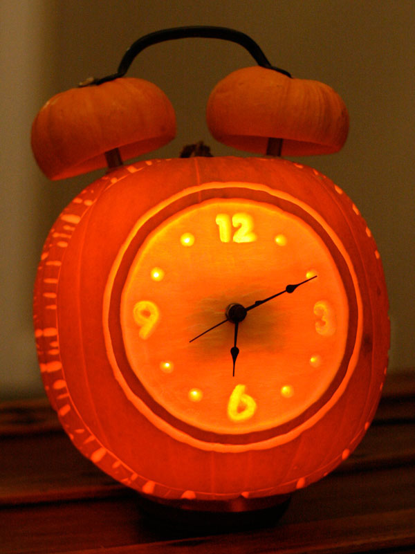 alarm clock pumpkin carving