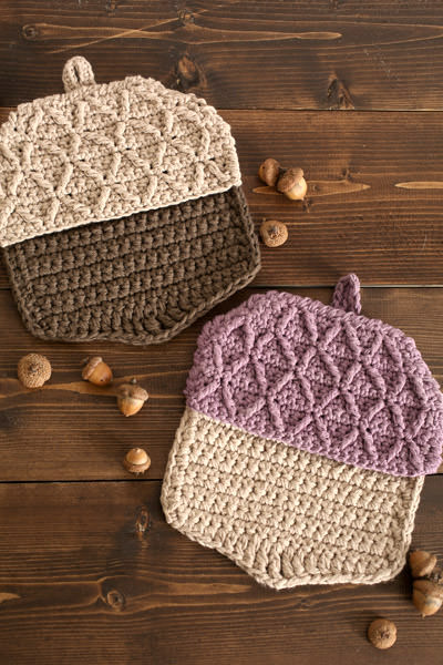 Crochet Acorn Hot Pads Free Pattern