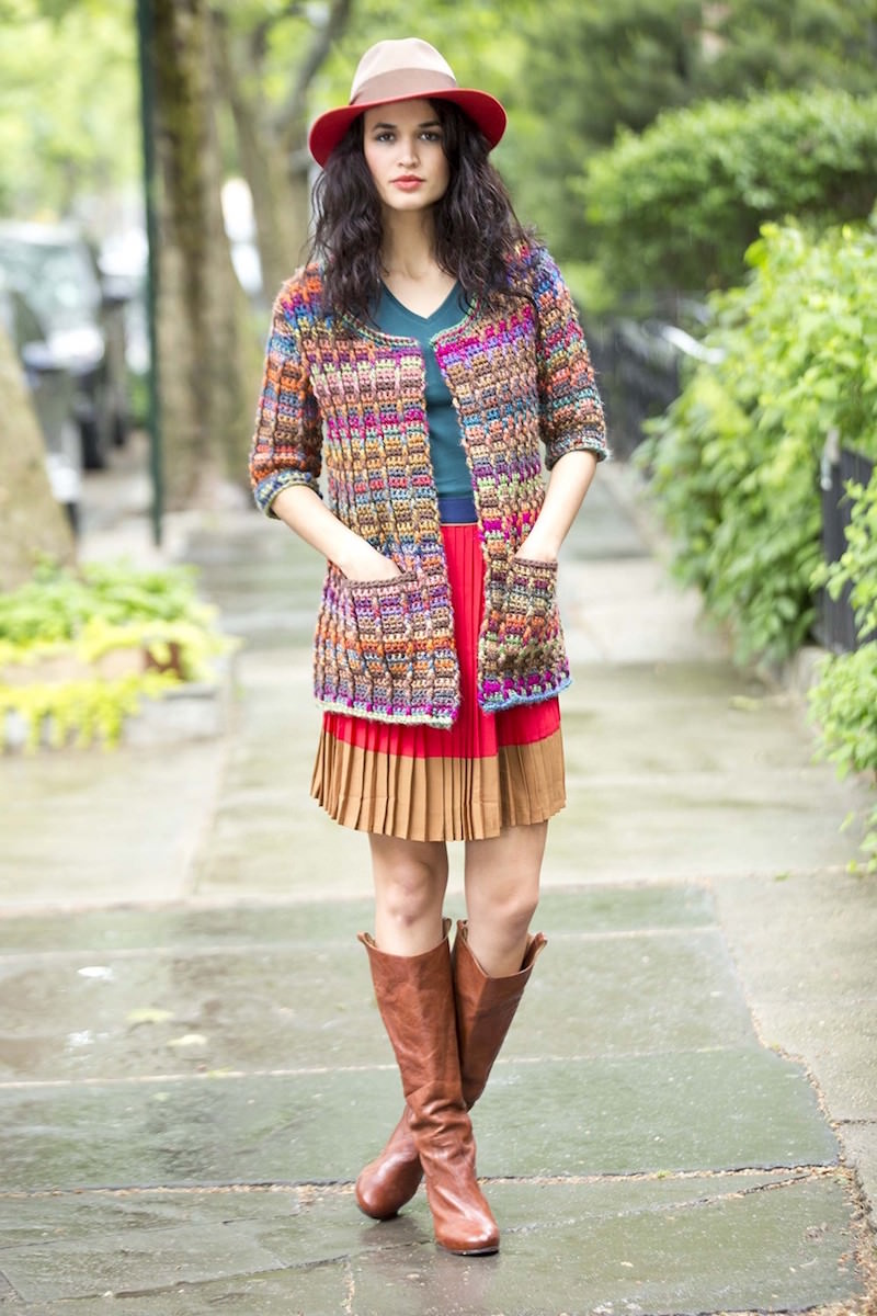 Colorful Modern Cardigan Free Crochet Pattern