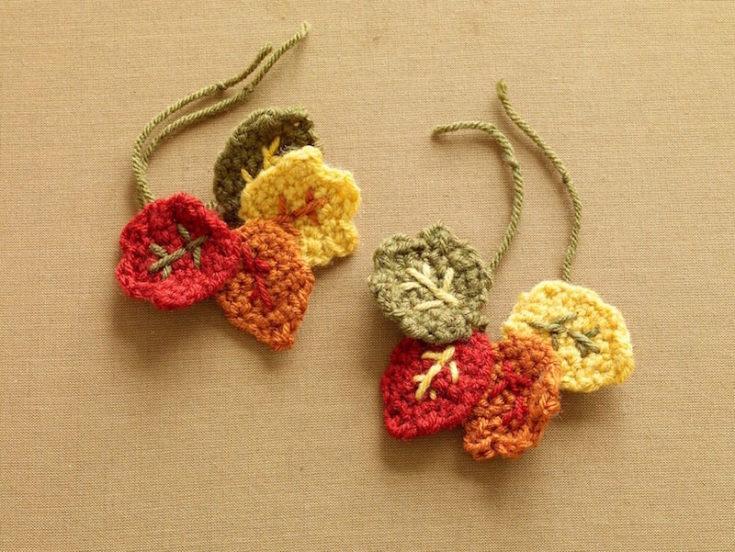 Crochet Pattern Fall Wineglass Decorations L0625 a
