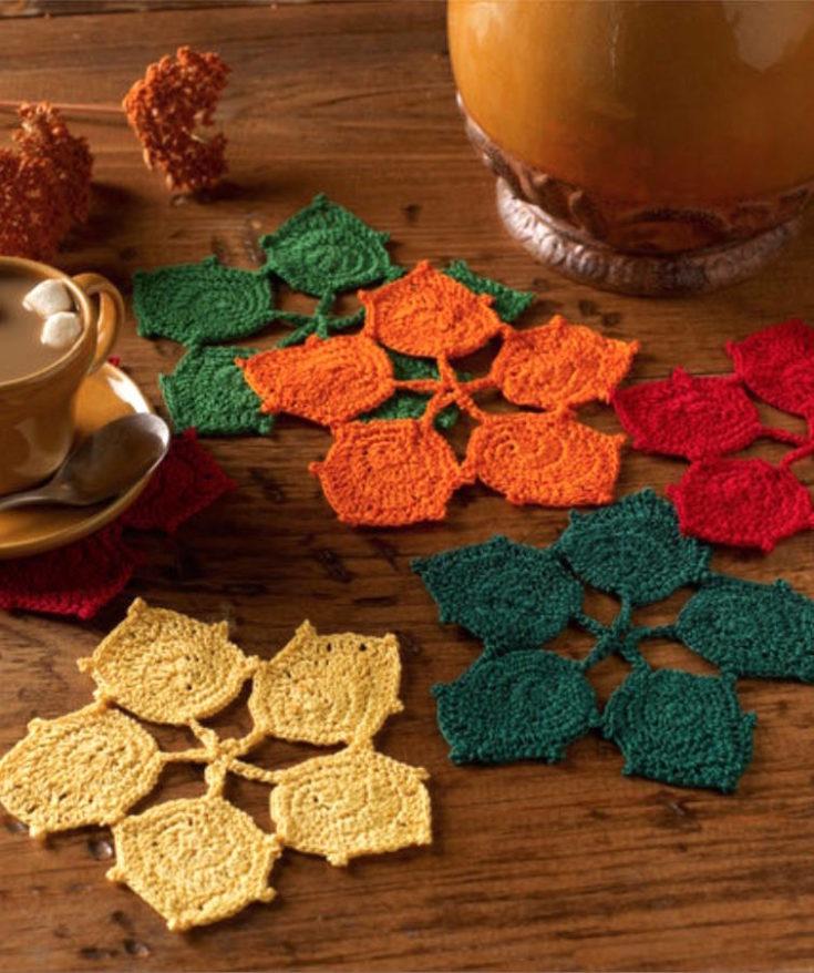 Crochet fall coasters