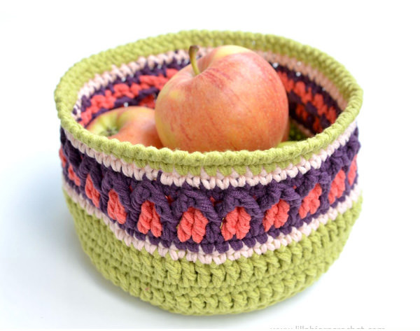 fall apple basket free crochet pattern