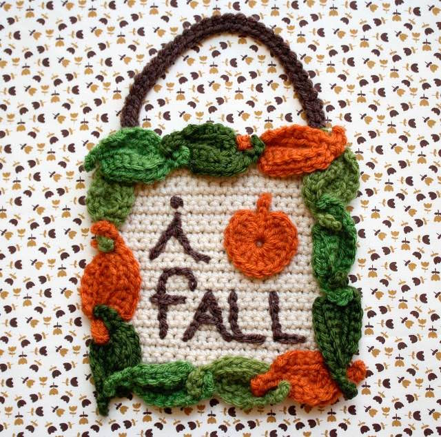 i love fall crochet sign