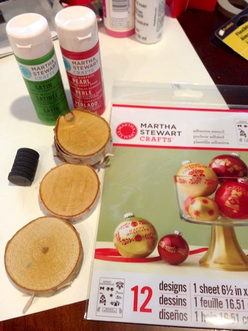 Martha Stewart adhesive stencils, acrylic paint, wood slices, and magnets