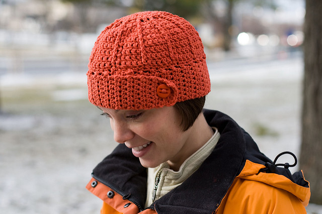 Button hat for fall free crochet pattern