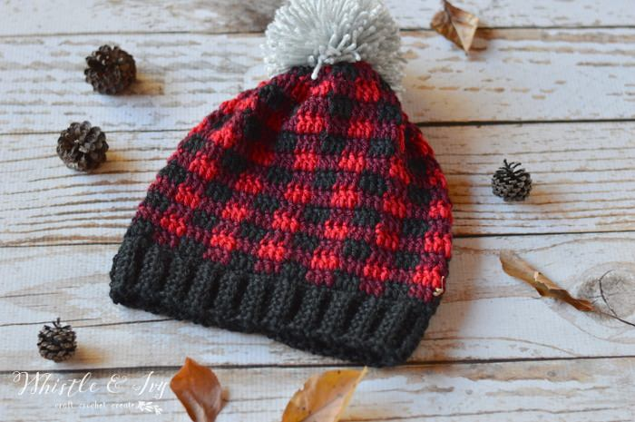Plaid hat crochet pattern