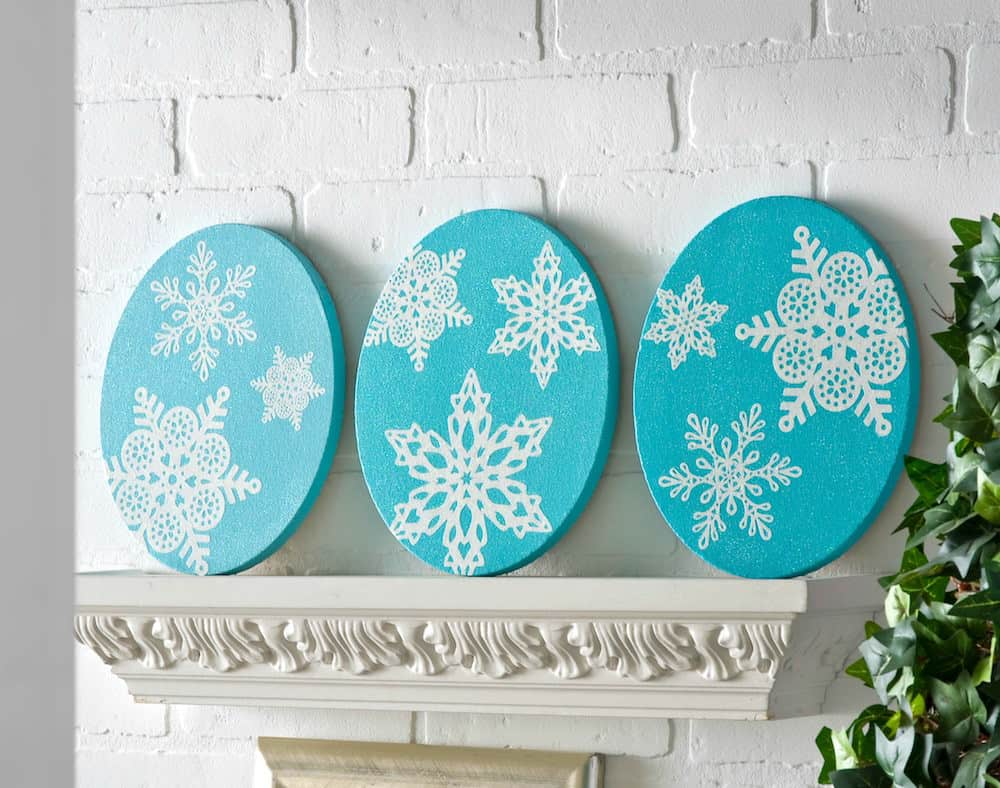 Painted canvas snowflake art