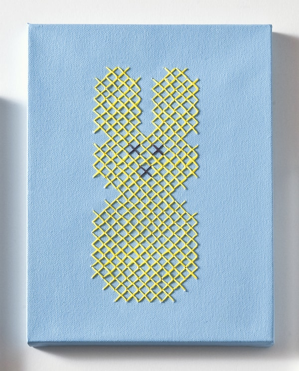 Blue Peeps bunny canvas