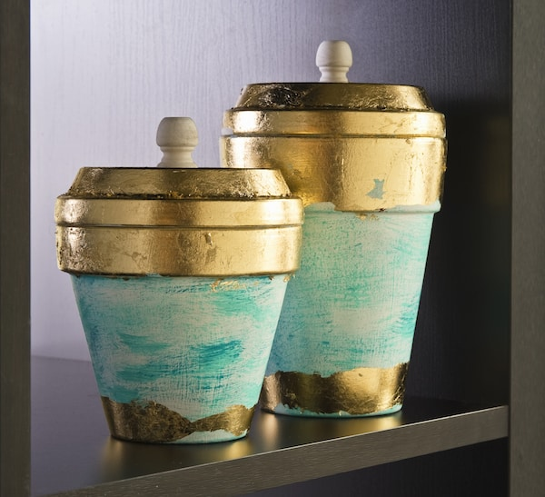Gold Leaf Clay Pots For Storage