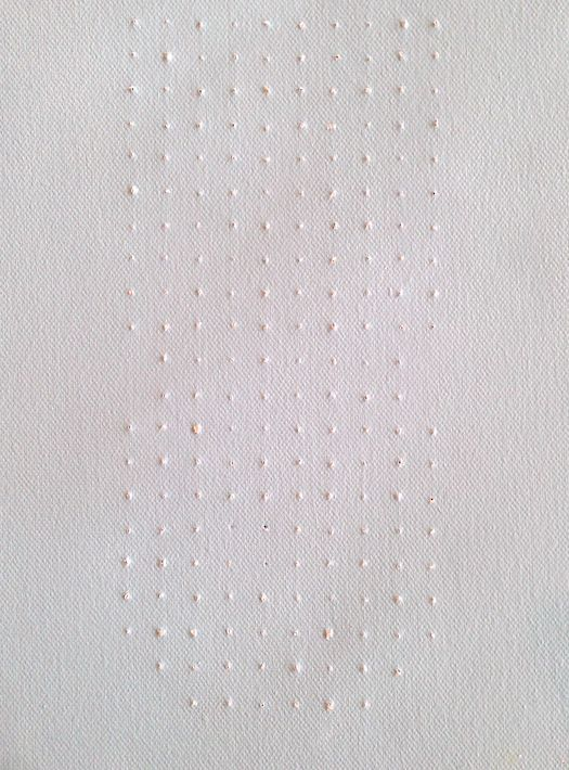 Poke holes in a canvas with an awl