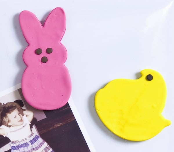 Make Peeps magnets using clay