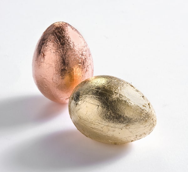 Gold and copper leaf Easter eggs