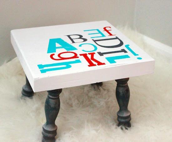 DIY Alphabet Stenciled Stool