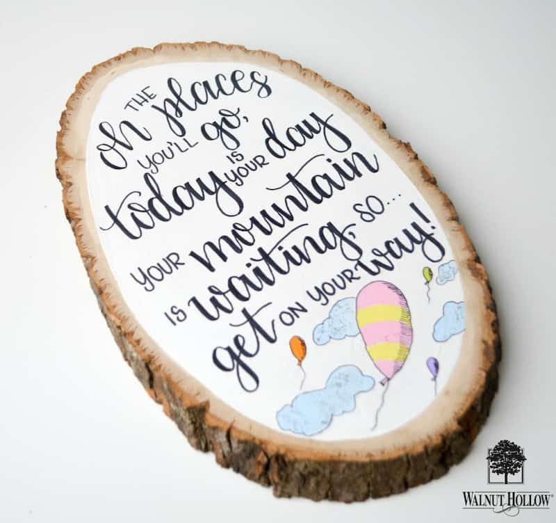Hand lettered plaque graduation gift