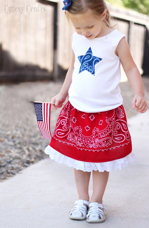 4th of July Little Girls Outfit with a Bandana Skirt