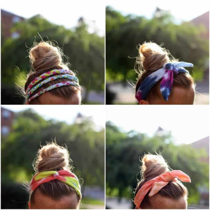 Collage of DIY headbands made with tie dye
