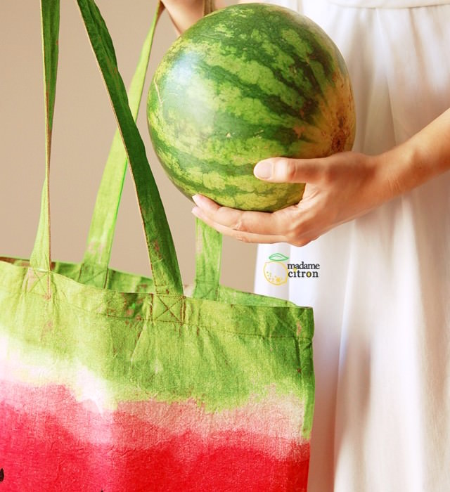 DIY watermelon bag dyed canvas