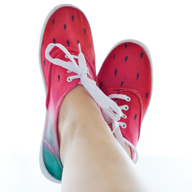 DIY watermelon dyed sneakers shoes
