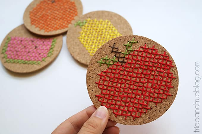 Fruit Embroidred Coasters - Ready to use!