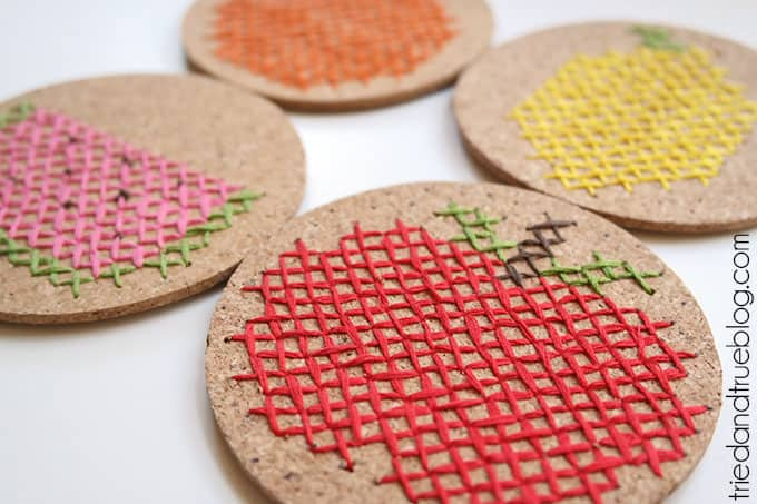 Fruit Embroidred Coasters - Fruit