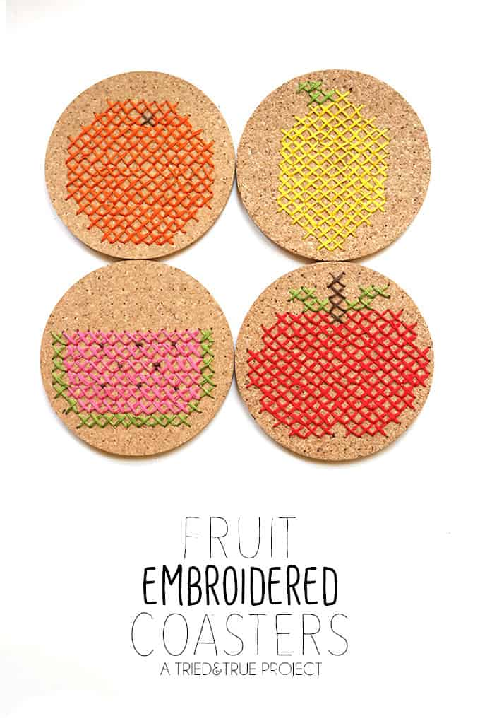 Fruit Embroidered Coasters - Customize your coasters with cross stitch!
