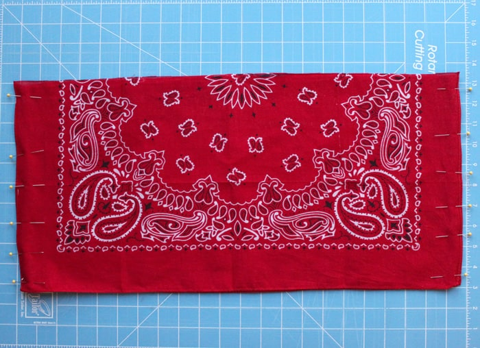 Two halves of a bandana pinned around the edges with straight pins