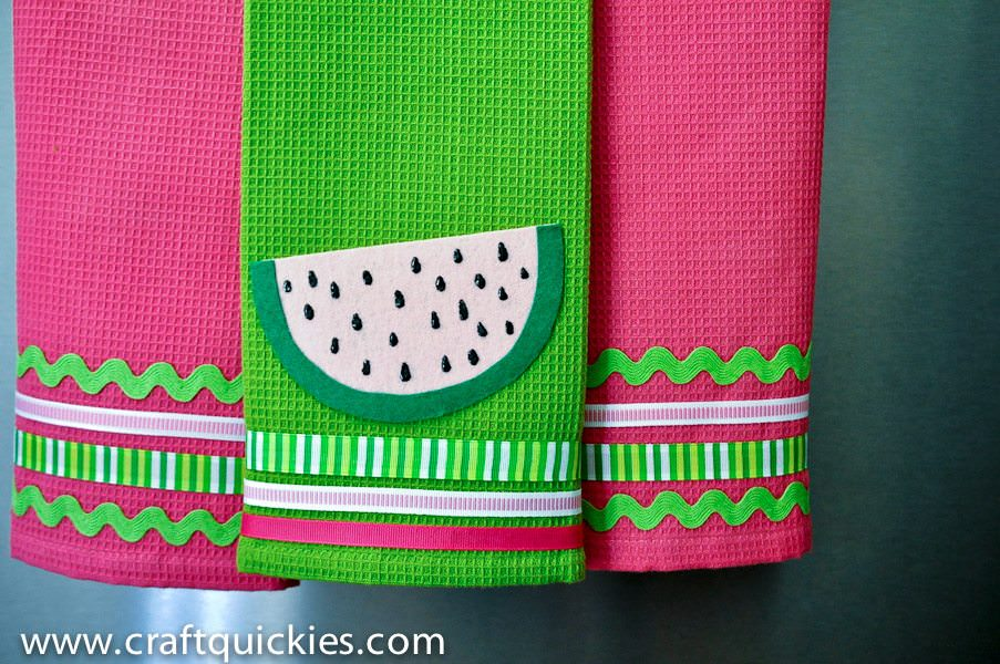 No sew watermelon towels
