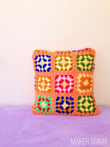 Brightly colored DIY crochet pillow