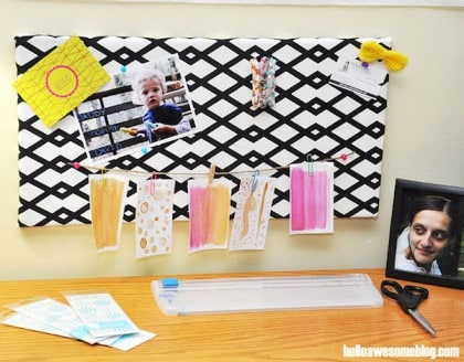 DIY bulletin board from a canvas