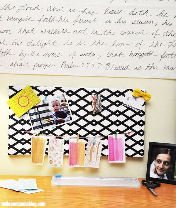 Make a bulletin board from a canvas