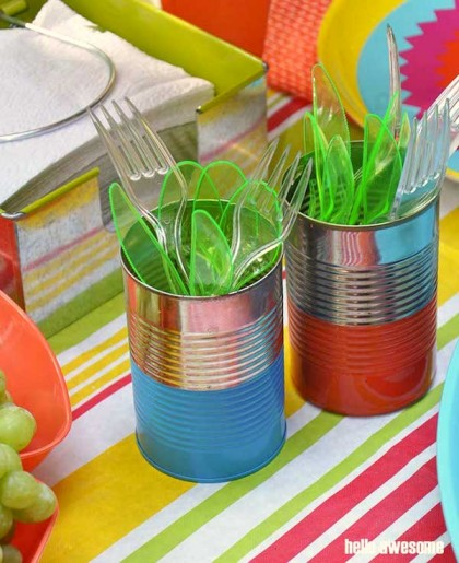 Recycled Crafts: Painted Picnic Utensil Containers