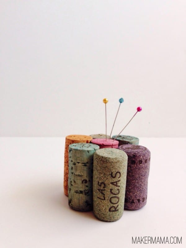 Easy DIY Pin Cushion Made from Wine Corks
