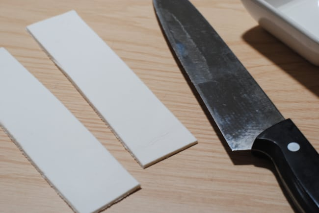 cutting two strips