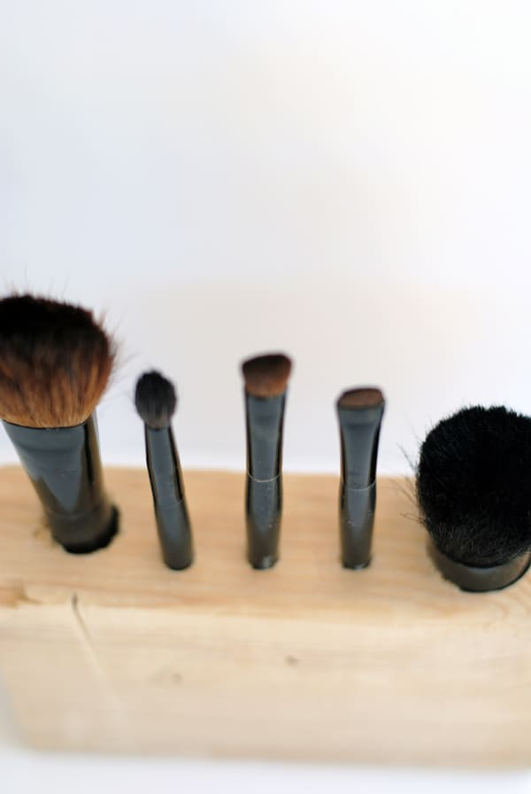 DIY makeup brush holder made from wood