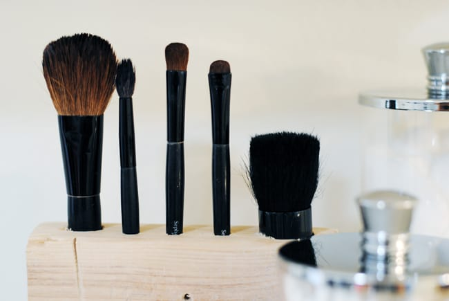 Wooden makeup brush organizer