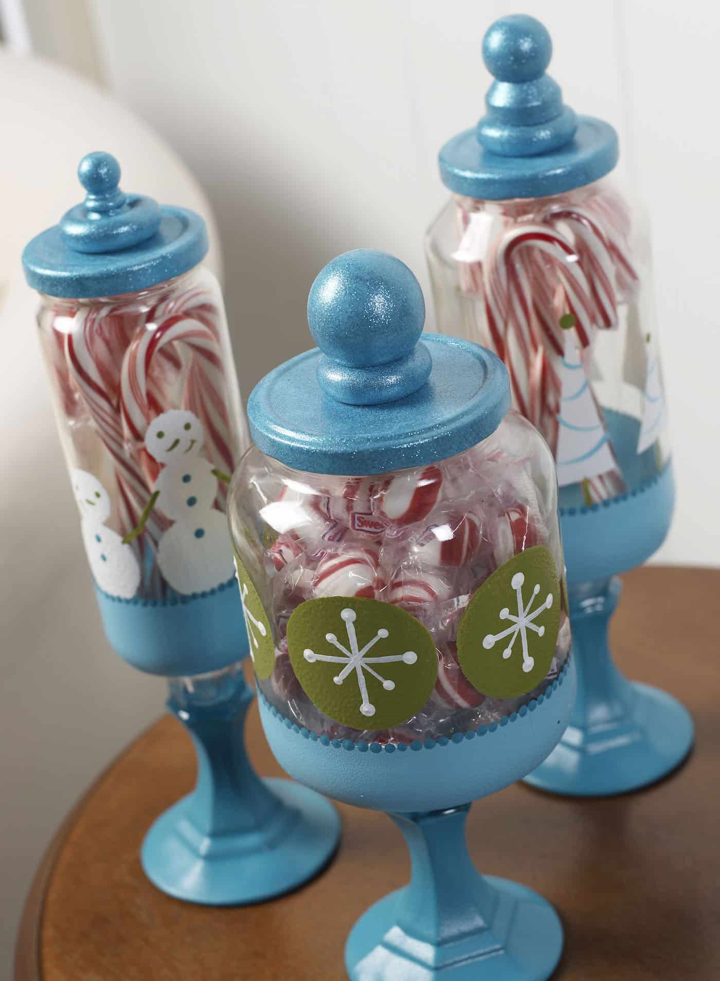 create christmas apothecary jars to hold candy using dollar store supplies accent your holiday decor
