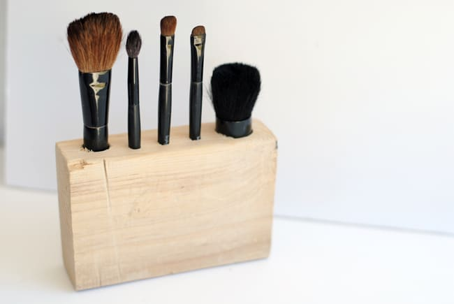 wooden makeup brush holder