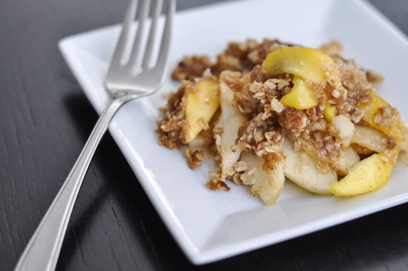 Make a delicious apple-peach crisp recipe in under an hour. Serve with ice cream or on its own - either way, it's delicious!