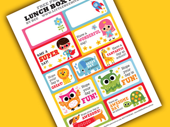 Colorful lunch notes for kids